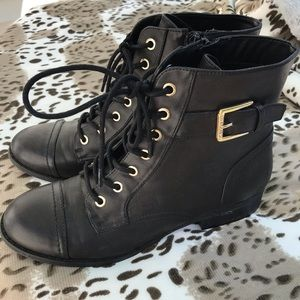 G by Guess Black Buckle Lace Combat Boots